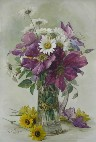 Paul De Longpre - Large Purple Clematis and White Daisies